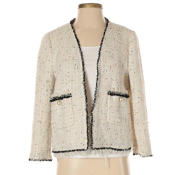48ffe4f8 Zara Jackets & Coats | Nwot Size M Cream Pearl Tweed Jacket | Poshmark